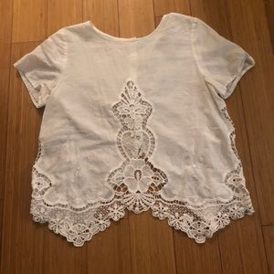 White lace top buttons up back